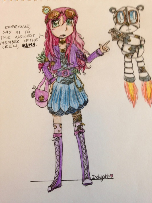 colourful steampunk character sketch indigo haynes